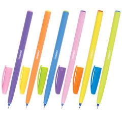 Ручка шариковая масляная ПИФАГОР, СИНЯЯ, безопасный корпус ассорти, узел 0,6 мм, линия письма 0,3 мм, 142685