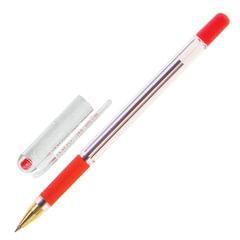 """Ручка шариковая масляная с грипом MUNHWA """"MC Gold"""", КРАСНАЯ, корпус прозрачный, узел 0,5 мм, линия письма 0,3 мм, BMC-03"""