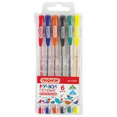 Ручки гелевые ПИФАГОР, НАБОР 6 ЦВЕТОВ, корпус прозрачный, узел 0,5 мм, линия письма 0,35 мм, 142793