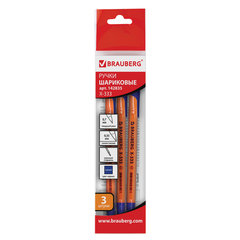 """Ручки шариковые BRAUBERG НАБОР 3 шт., """"X-333"""", СИНИЕ, оранжевые, узел 0,7 мм, линия письма 0,35 мм, 142835"""