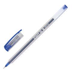 """Ручка шариковая масляная STAFF """"Basic"""", СИНЯЯ, корпус матовый, игольчатый узел 0,6 мм, линия письма 0,3 мм, 143021"""