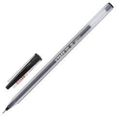 """Ручка шариковая масляная STAFF """"Basic"""", ЧЕРНАЯ, корпус матовый, игольчатый узел 0,6 мм, линия письма 0,3 мм, 143022"""