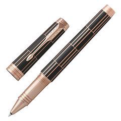 """Ручка-роллер PARKER """"Premier Luxury Brown PGT"""", корпус коричневый, детали розовое золото, черная, 1931399"""