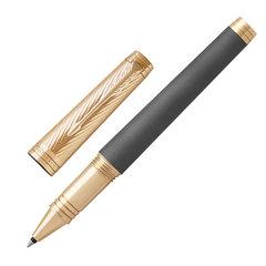 """Ручка-роллер PARKER """"Premier Custom Storm Grey GT"""", корпус серый, детали золото, черная, 1931438"""