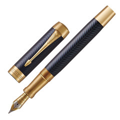 "Ручка перьевая PARKER ""Duofold Prestige Blue Chevron GT"", перо M, корпус синий, черная, 1931370"