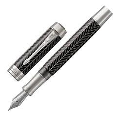 """Ручка перьевая PARKER """"Duofold Prestige Black Chevron CT"""", перо F, корпус черный, черная, 1945413"""