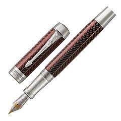 "Ручка перьевая PARKER ""Duofold Prestige Burgundy Chevron CT"", перо M, корпус бургунди, черная, 1945417"