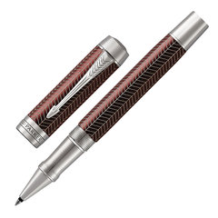 "Ручка-роллер PARKER ""Duofold Prestige Burgundy Chevron CT"", корпус бургунди, черная, 1945420"