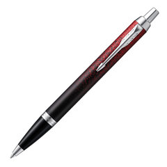 """Ручка шариковая PARKER """"IM Red Ignite CT"""", корпус черный матовый, хромированные детали, синяя"""