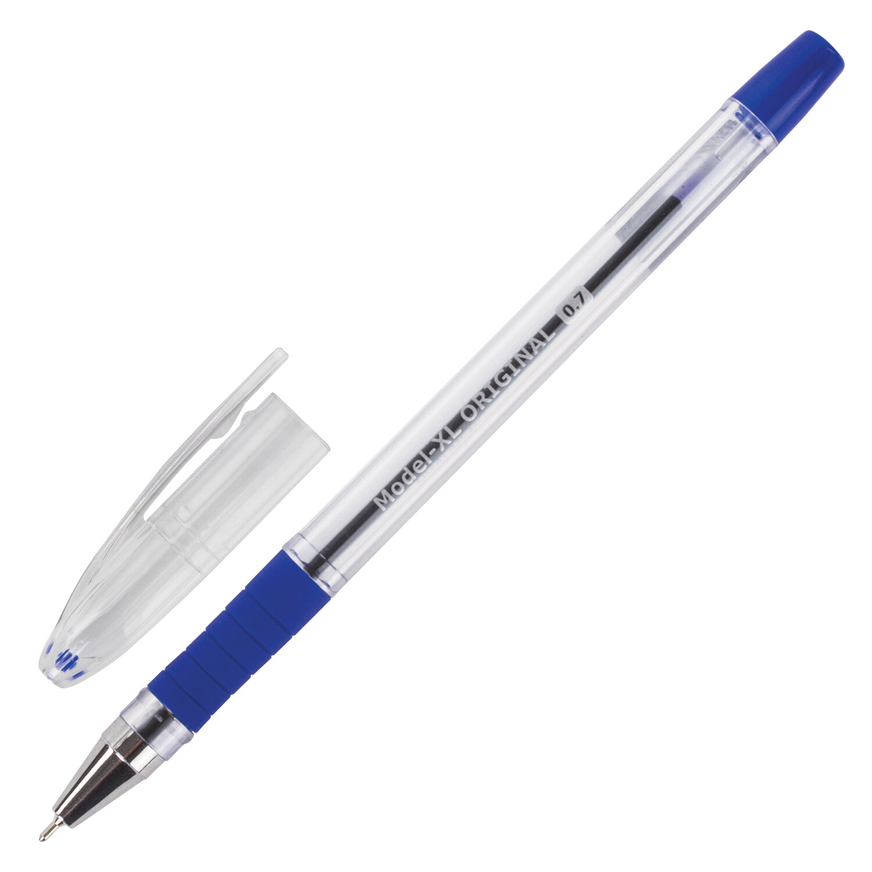 """Ручка шариковая масляная с грипом BRAUBERG """"Model-XL"""" ORIGINAL, СИНЯЯ, узел 0,7 мм, линия письма 0,35 мм, 143242"""