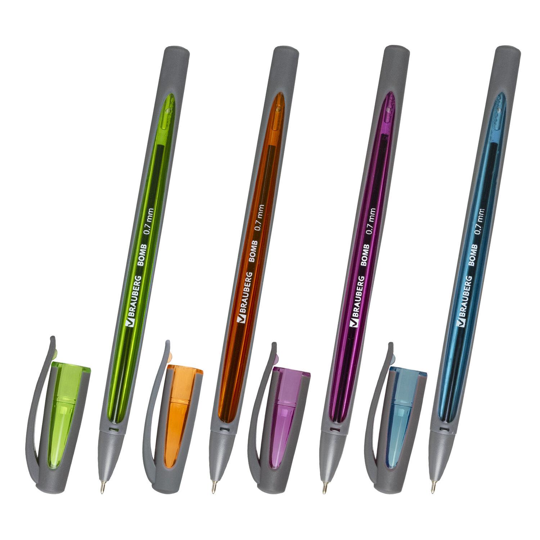 """Ручка шариковая масляная BRAUBERG """"BOMB GT Metallic"""", СИНЯЯ, прорезиненный корпус ассорти, узел 0,7 мм, линия письма 0,35 мм, 143348"""