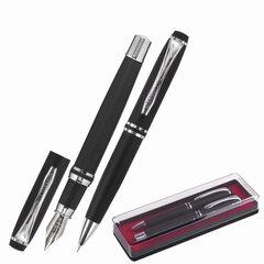Набор ручек бизнес-класса BRAUBERG Duetto, СИНИЕ, 2 шт: шариковая, перьевая, черный с хромированными деталями, 143478