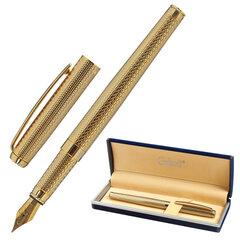 """Ручка подарочная перьевая GALANT """"VERSUS"""", корпус золотистый, детали золотистые, узел 0,8 мм, синяя, 143528"""