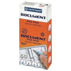 """Ручка капиллярная (линер) КРАСНАЯ CENTROPEN """"Document"""", трехгранная, линия письма 0,1 мм, 2631/0,1"""
