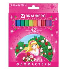 """Фломастеры BRAUBERG """"Rose Angel"""", 12 цветов, вентилируемый колпачок, картонная упаковка, увеличенный срок службы, 150556"""