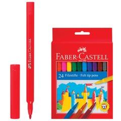 Фломастеры FABER-CASTELL, 24 цвета, смываемые, картонная упаковка, европодвес, 554224