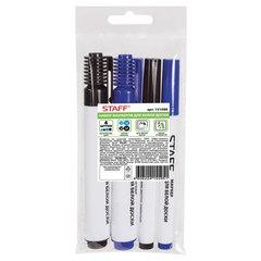 Маркеры для доски, набор 4шт. (черные 1-3 мм, 3-5 мм, синие 1-3 мм, 3-5 мм), круглые, STAFF
