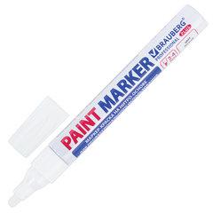 Маркер-краска лаковый (paint marker) 4 мм, БЕЛЫЙ, НИТРО-ОСНОВА, алюминиевый корпус, BRAUBERG PROFESSIONAL PLUS, 151444
