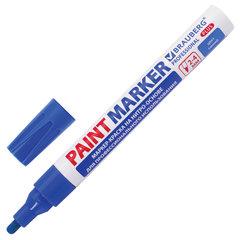 Маркер-краска лаковый (paint marker) 4 мм, СИНИЙ, НИТРО-ОСНОВА, алюминиевый корпус, BRAUBERG PROFESSIONAL PLUS, 151447