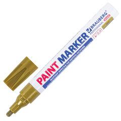 Маркер-краска лаковый (paint marker) 4 мм, ЗОЛОТОЙ, НИТРО-ОСНОВА, алюминиевый корпус, BRAUBERG PROFESSIONAL PLUS, 151449