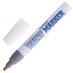 Маркер-краска лаковый (paint marker) MUNHWA, 4 мм, СЕРЕБРЯНЫЙ, нитро-основа, алюминиевый корпус, PM-06