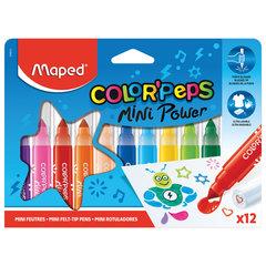 """Фломастеры MAPED (Франция) """"Color'Peps Jumbo Mini"""" 12 цветов, суперсмываемые, штампы, европодвес, 846612"""