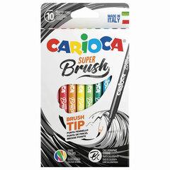 """Фломастеры с наконечником-кистью CARIOCA (Италия) """"Super Brush"""", 10 цветов, смываемые, 42937"""