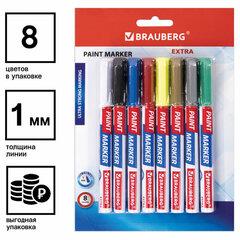 Маркер-краска лаковый EXTRA (paint marker) 1 мм, НАБОР 8 цветов, УЛУЧШЕННАЯ НИТРО-ОСНОВА, BRAUBERG, 151991