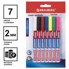 Маркер-краска лаковый EXTRA (paint marker) 2 мм, НАБОР 7 цветов, УЛУЧШЕННАЯ НИТРО-ОСНОВА, BRAUBERG, 151996