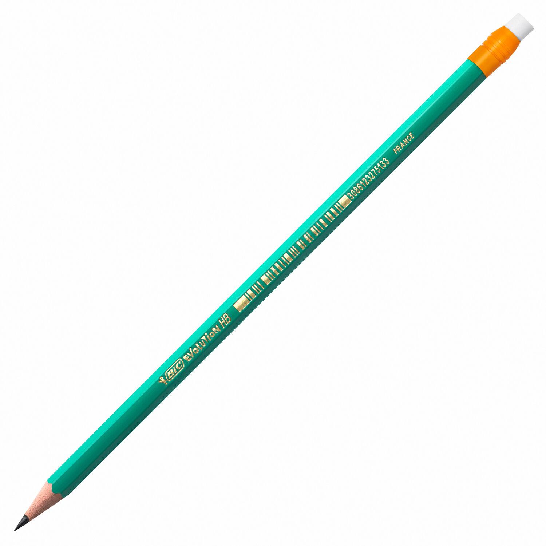 """Карандаш чернографитный BIC, 1 шт., """"Evolution"""", HB, с резинкой, пластиковый, корпус зеленый, заточенный, 8803323"""