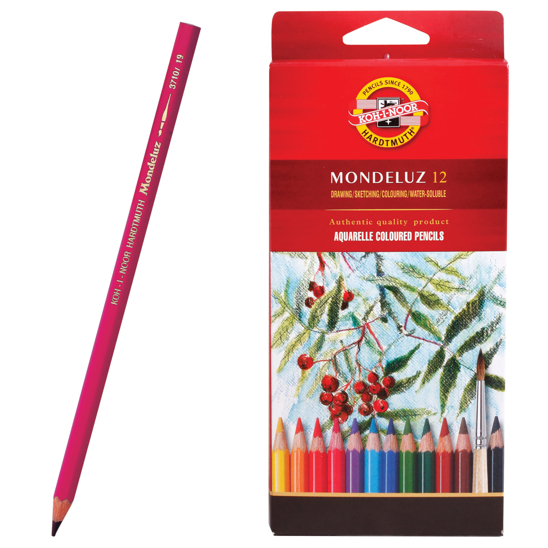 """Карандаши цветные акварельные художественные KOH-I-NOOR """"Mondeluz"""", 12 цветов, 3,8 мм, заточенные, европодвес"""