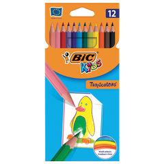 """Карандаши цветные BIC """"Tropicolors"""", 12 цветов, пластиковые, заточенные, европодвес, 8325666"""
