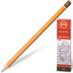 Карандаш чернографитный KOH-I-NOOR 1500, 1 шт., 5H, без резинки, корпус желтый, заточенный