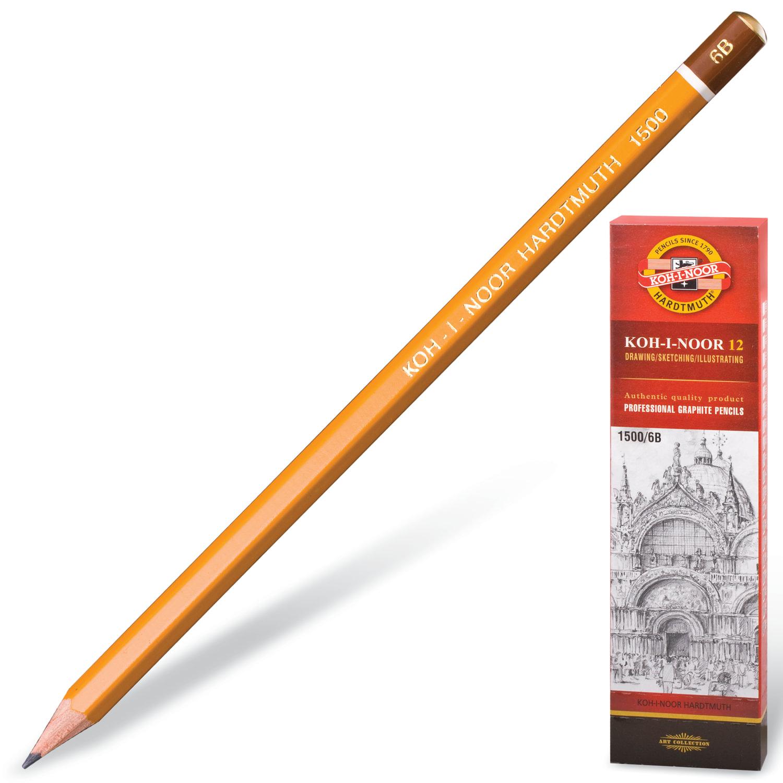 Карандаш чернографитный KOH-I-NOOR 1500, 1 шт., 6B, без резинки, корпус желтый, заточенный