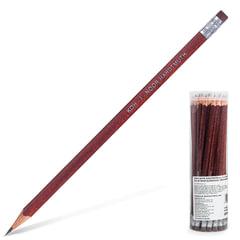 Карандаш чернографитный KOH-I-NOOR, 1 шт., HB, трехгранный, с резинкой, корпус коричневый, заточенный