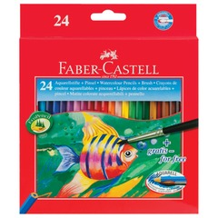 """Карандаши цветные акварельные FABER-CASTELL """"Colour Pencils"""", 24 цвета + кисть"""