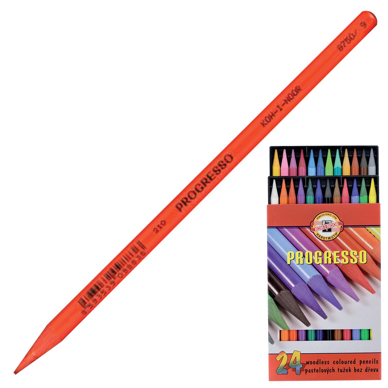 """Карандаши цветные художественные KOH-I-NOOR """"Progresso"""", 24 цвета, 7,1 мм, в лаке, без дерева, заточенные, 8758"""
