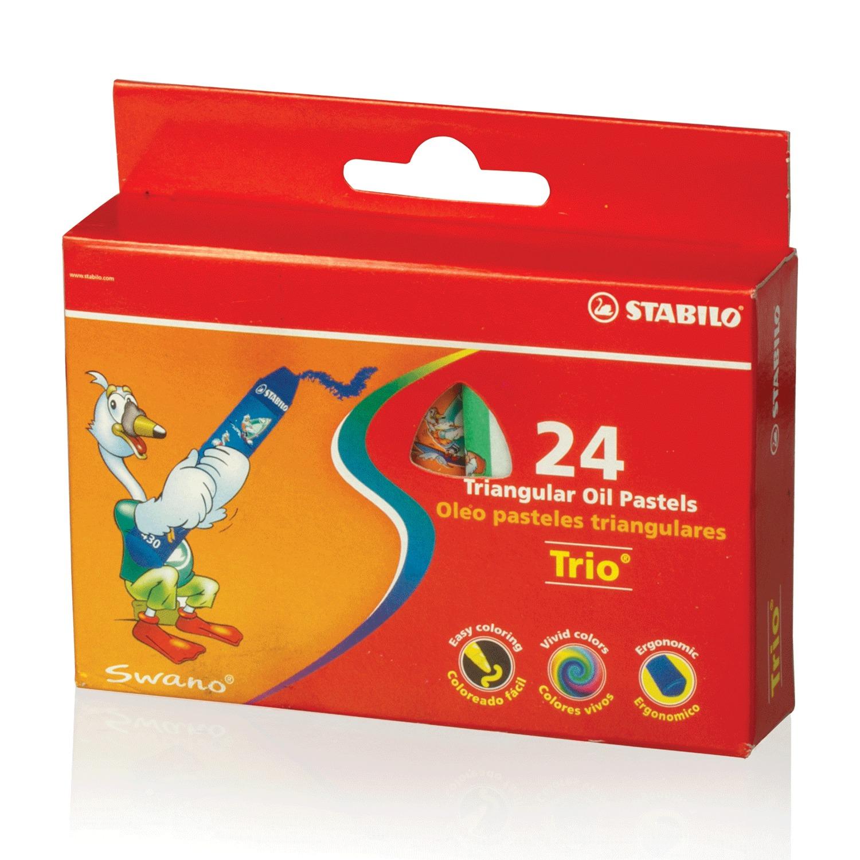 """Восковые мелки утолщенные STABILO """"Trio"""", на масляной основе, трехгранные, 24 цвета, европодвес, 2624"""