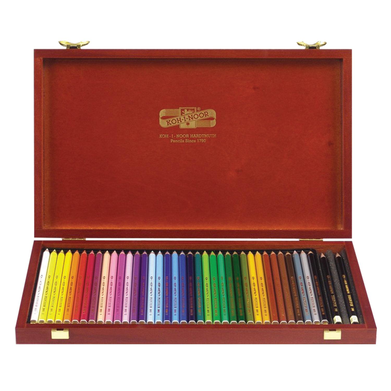 """Карандаши цветные KOH-I-NOOR """"Polycolor"""", 36 цветов, грифель 3,8 мм, заточенные, деревянный ящик, 3895036001DK"""