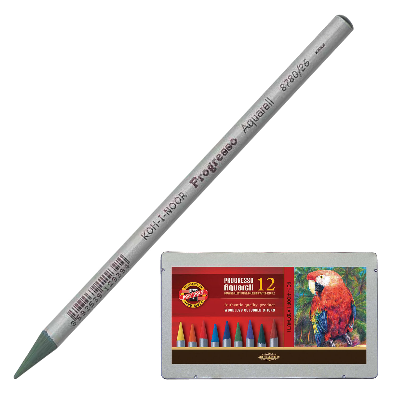 """Карандаши цветные акварельные KOH-I-NOOR """"Progresso"""", 12 цветов, 7,1 мм, в лаке, металлическая коробка"""
