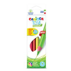 """Карандаши цветные утолщенные CARIOCA """"Tita maxi"""", 6 цветов, трехгранные, грифель 5 мм"""