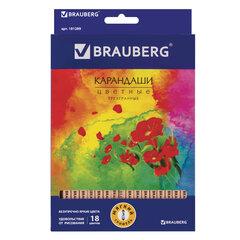 """Карандаши цветные BRAUBERG """"Цветы"""", набор 18 цветов, трехгранные, лакированное дерево, 181289"""