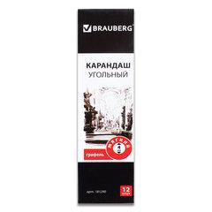 Карандаш угольный BRAUBERG ART CLASSIC, 1 шт., МЯГКИЙ, круглый, корпус черный, заточенный,181290