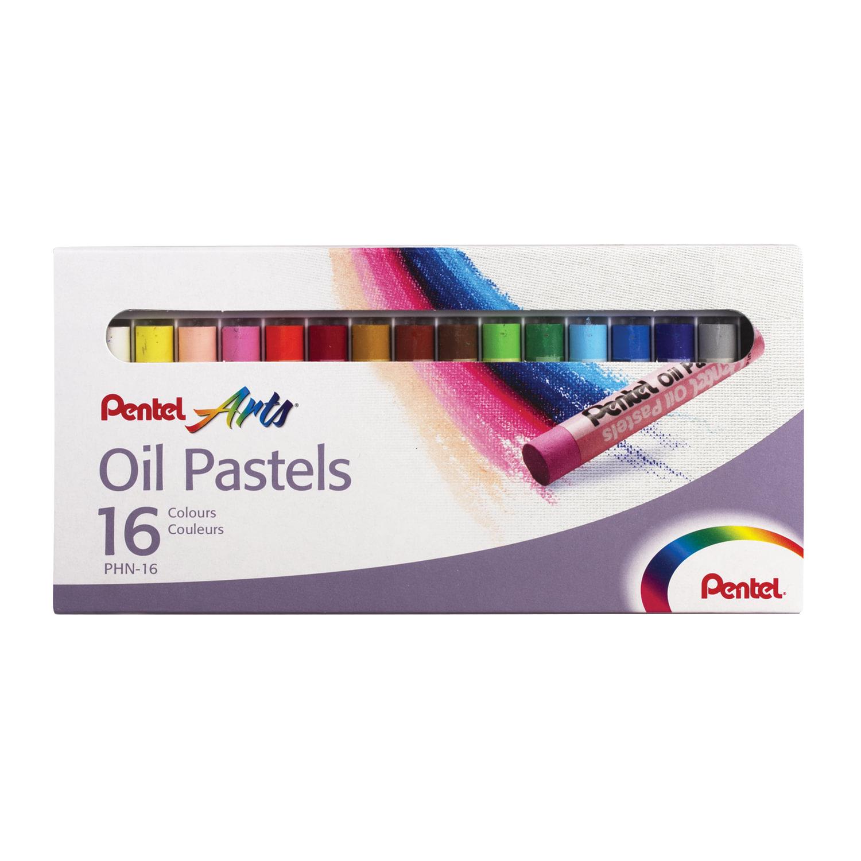 """Пастель масляная художественная PENTEL """"Oil Pastels"""", 16 цветов, круглое сечение, картонная упаковка, PHN4-16"""