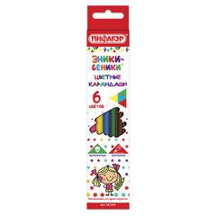 """Карандаши цветные ПИФАГОР """"ЭНИКИ-БЕНИКИ"""", 6 цветов, классические заточенные, 181345"""