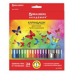"""Карандаши цветные BRAUBERG """"БАБОЧКИ"""", 24 цвета, трехгранные заточенные, корпус с полосками"""