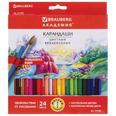 """Карандаши цветные акварельные BRAUBERG """"АКАДЕМИЯ"""", 24 цвета, шестигранные,высокое качество, 181400"""
