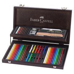 """Набор художественный FABER-CASTELL """"Art & Graphic Compendium"""", 54 предмета, деревянный ящик, 110088"""