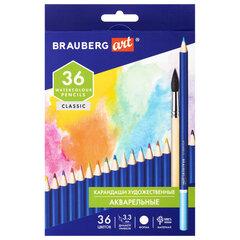 Карандаши художественные цветные акварельные BRAUBERG ART CLASSIC, 36 цветов, грифель 3,3 мм, 181531