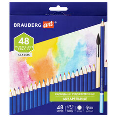 Карандаши художественные цветные акварельные BRAUBERG ART CLASSIC, 48 цветов, грифель 3,3 мм, 181532